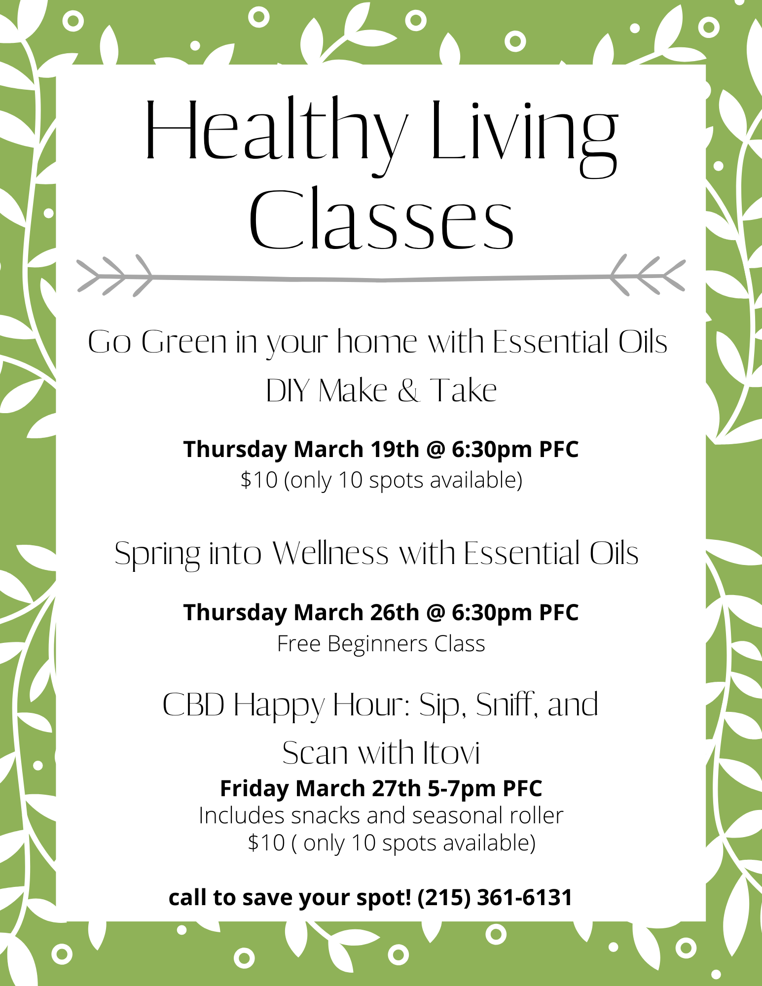 March Healthy Living classes
